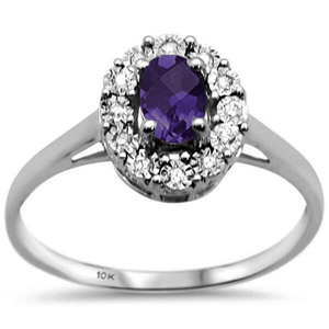 10k White Gold Oval Diamond & Amethyst Ring