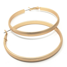 Matte Gold 2.25 inch Steel Hoop Earrings - SeaSpray Jewelry