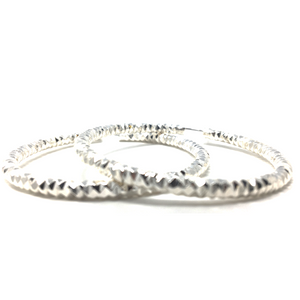 Silver Diamond-Cut Finish Aluminum Hoop Earrings - SeaSpray Jewelry