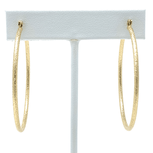 2 Inch Sand Blasted Gold Hoop Earrings For Women - Costume Jewelry