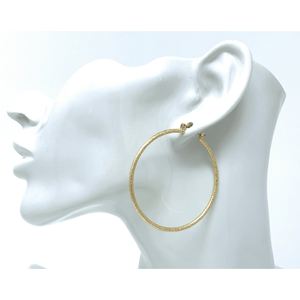 2 inch Gold Hoop Sand Blast Earrings For Women - Costume Jewelry