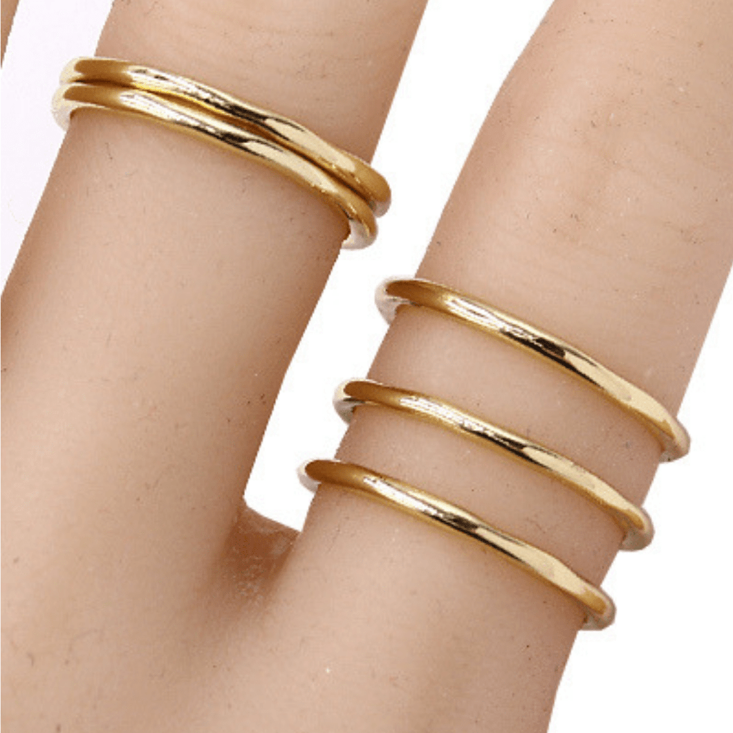 5 Gold Band Stack Ring Set - Fashion Jewelry