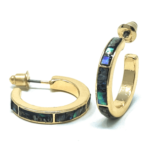Abalone Inlay Gold Hoop Earrings