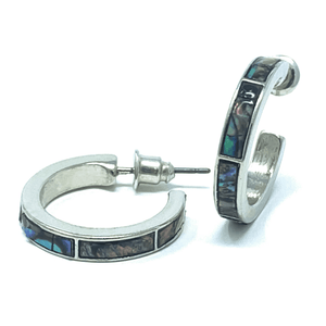 Abalone Shell Inlay Silver Hoop Earrings