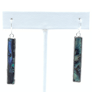 Abalone Bar Dangle Silver Earrings For Women - Costume Jewelry