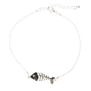 Abalone Fish Bone Silver Anklet With Rhinestone Accent - Beach Jewelry For Women