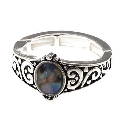 Silver Abalone Stretch Ring For Women - Fashion Jewelry