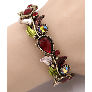 Adjustable Red Crystal Flower Bangle Bracelet In Gold - Costume Jewelry For Women