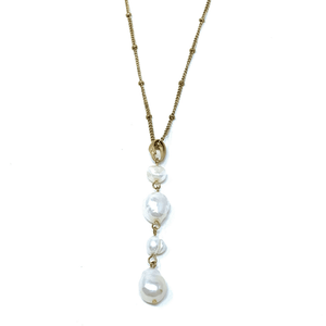 Freshwater Pearl Pendant Necklace On Gold Chain