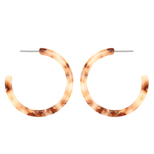 Beige Marbled Lucite Hoop Earrings - Costume Jewelry
