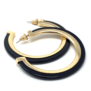 Black Acetate Resin Stud Earrings With Gold Trim - Fashion Jewelry For Women