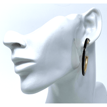 Black Resin Circle Hoop Earrings With Gold Trim - Trendy Earrings For Women