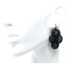 Black Circle Disc Dangle Earrings For Women - Statement Jewelry