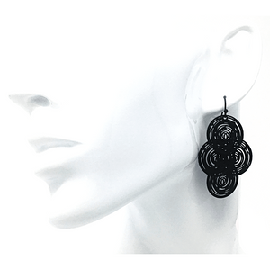 Black Circle Disc Dangle Earrings - Statement Jewelry