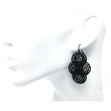 Black Circle Disc Dangle Earrings For Women - Costume Jewelry