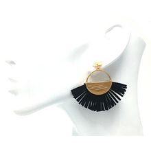 Black Leather Fan Tassel Stud Earrings - Statement Jewelry