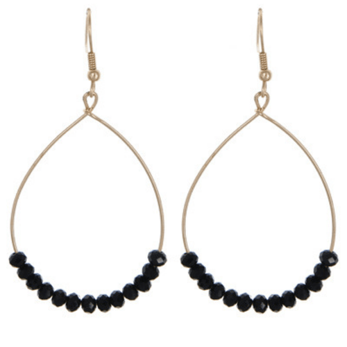 Black Glass Bead Teardrop Dangle Earrings In Gold - Fashion Jewelry