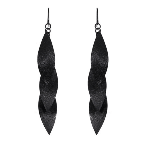 Long Black Layered Leaf Dangle Statement Earrings