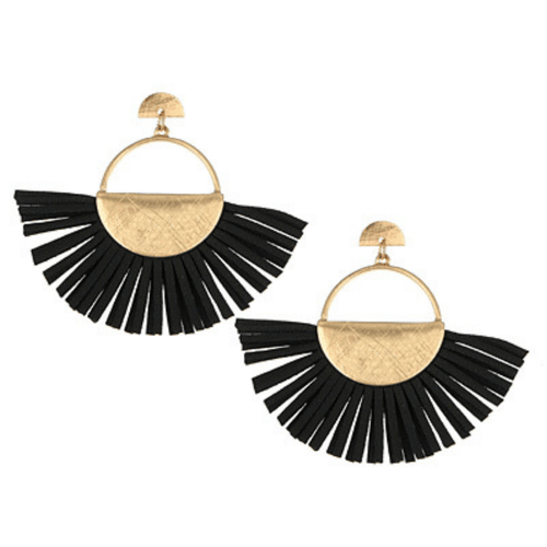 Black Leather Fan Tassel Post Earrings - Fashion Jewelry