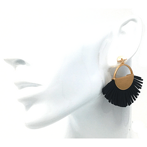 Black Leather Fan Tassel Stud Earrings - Costume Jewelry