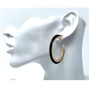 Black Acetate Resin Stud Earrings With Gold Trim - Costume Jewelry For Women