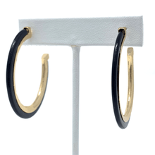 Black Circle Hoop Resin Stud Earrings With Gold Trim - Stylish Earrings For Women