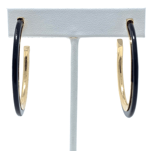 Black Acetate Circle Hoop Earrings With Gold Trim - Stylish Earrings For Women