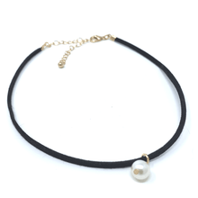 Black Suede Choker Necklace with Pearl Pendant