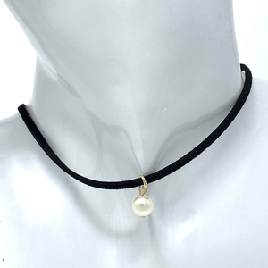 Black Suede Choker Necklace with Pearl Pendant - Fashion Jewelry