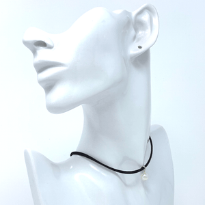 Black Suede Choker Necklace with Pearl Pendant - Costume Jewelry