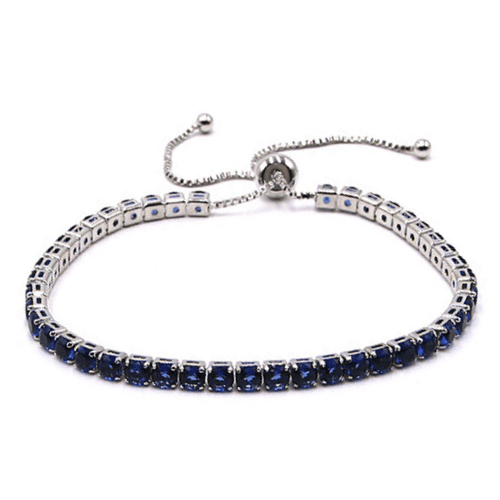 Blue CZ Slide Bolo Tennis Bracelet In Silver - Women's Fashion Jewelry
