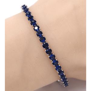 Blue CZ Slide Bolo Tennis Bracelet In Silver - Women's Costume Jewelry