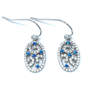 Blue Opal & CZ Filigree Dangle Sterling Silver Earrings - SeaSpray Jewelry