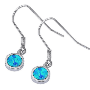 Blue Opal Circle Sterling Silver Dangle Earrings