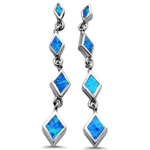 Blue Opal Diamond Shape Sterling Silver Drop Stud Earrings - SeaSpray Jewelry