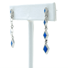 Blue Opal Diamond Shape Sterling Silver Stud Earrings - SeaSpray Jewelry