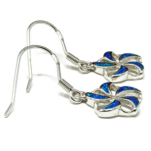Blue Opal Flower Dangle Sterling Silver Earrings - SeaSpray Jewelry