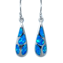 Blue Opal Mosaic Teardrop Silver Earrings - SeaSpray Jewelry