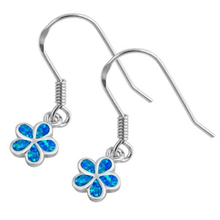 Blue Opal Plumeria Flower Sterling Silver Dangle Earrings