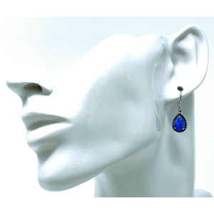 Blue Opal & Sapphire Silver Earrings - SeaSpray Jewelry