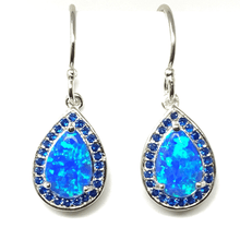 Blue Opal & Sapphire Sterling Silver Earrings - SeaSpray Jewelry