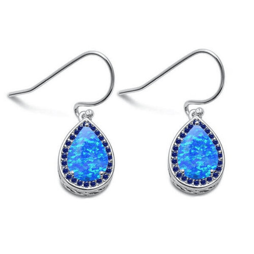 Blue Opal & Sapphire Teardrop Sterling Silver Dangle Earrings - SeaSpray Jewelry