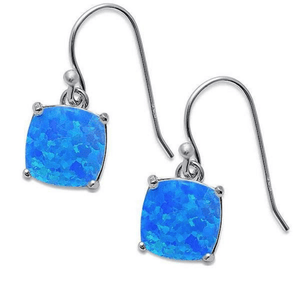Blue Opal Sterling Silver Square Dangle Earrings - SeaSpray Jewelry