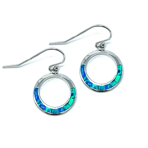 Blue Opal Sterling Silver Open Circle Dangle Earrings - SeaSpray Jewelry