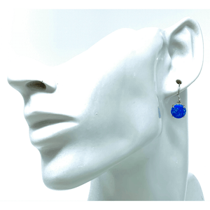 Blue Opal Sterling Silver Round Earrings - SeaSpray Jewelry