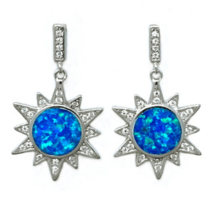 Blue Opal Sun CZ Sterling Silver Stud Earrings - Sterling Silver Jewelry