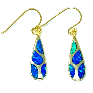 Blue Opal Teardrop Mosaic Gold Dangle Earrings - SeaSpray Jewelry