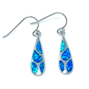 Blue Opal Teardrop Mosaic Sterling Silver Earrings - SeaSpray Jewelry