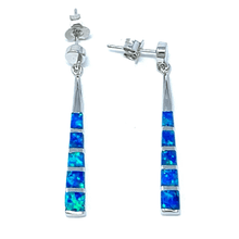 Blue Opal Triangle Bar Sterling Silver Drop Stud Earrings - SeaSpray Jewelry