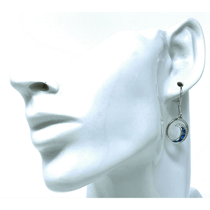 Blue Opal Wave With CZ Sterling Silver Earrings - SeaSpray Jewelry